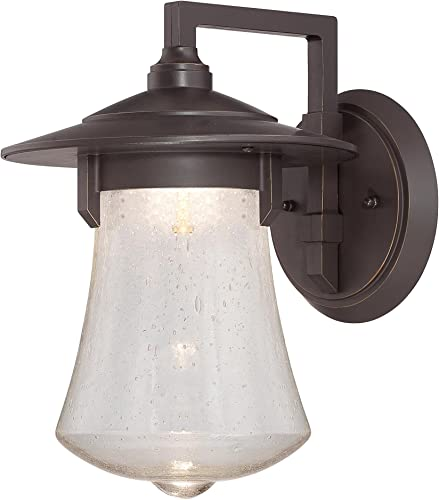 Sea Gull Lighting 89103BLE-12 Wynfield – One Light Outdoor Wall Mount, Black Finish with Frosted Glass