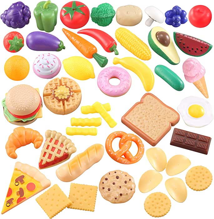 JOYIN Pretend Play Food 50 Pieces for Kids & Toddlers Kitchen Toy Playset