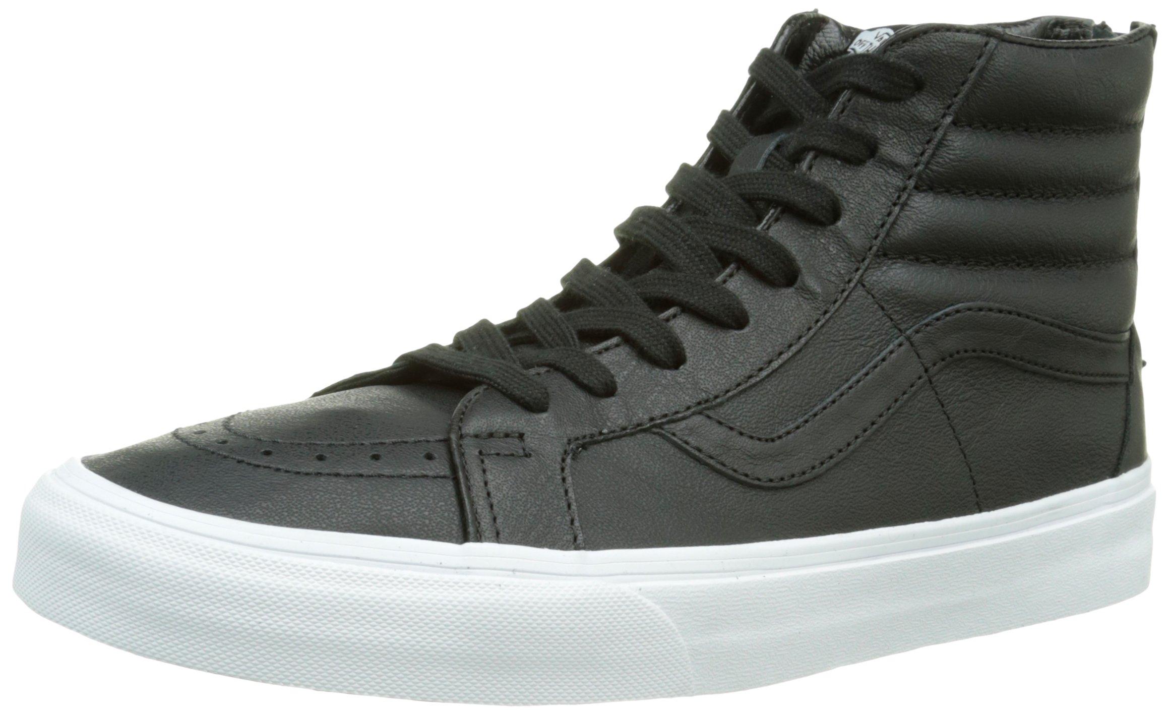 Vans - Unisex-Adult SK8-Hi Reissue Zip Shoes, Size: 5.5 D(M) US Mens / 7 B(M) US Womens, Color: (Premium Leather) Black/True White
