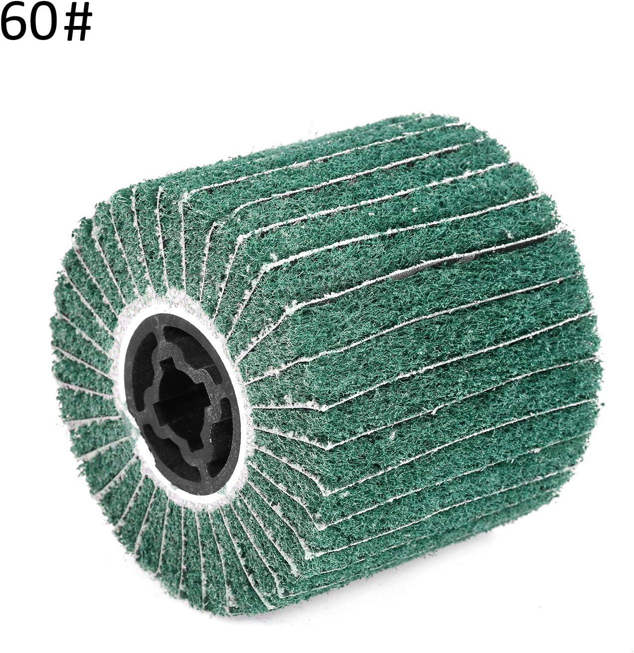 Zitainn Flap Wheel,Non-Woven Burnishing Wheel Stainless Steel Wire Drawing Wheel Fiber Wheel of Portable Motor Burnishing Polishing Wheel Compatible with Burnishing Machine//Polisher//Sander Green 60#