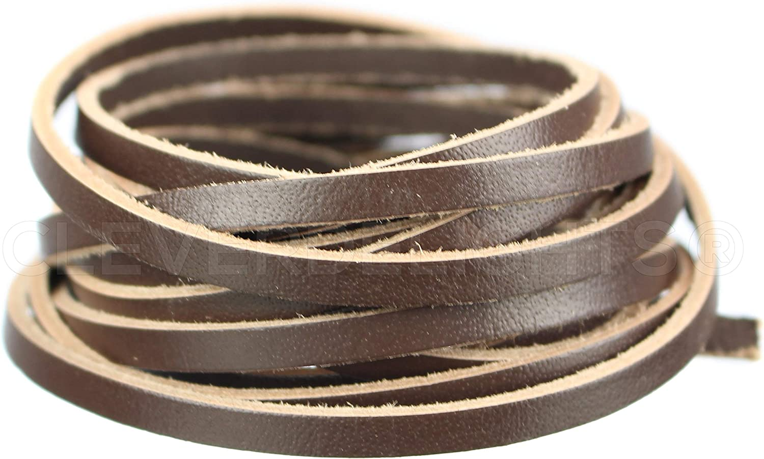 75 Feet CleverDelights 5//32 Genuine Leather Flat Cord Dark Brown 4mm Cowhide Leather Strap