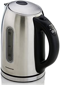 Ovente Electric Kettle, With Beep, 1.7L, 1100W, BPA-Free, 5 Temperature Control Settings & Keep Warm Function, Auto Shut-Off, Silver (KS88S)
