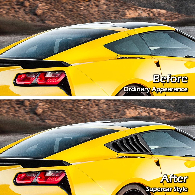 Matte Black V-SEK Side Window Louvers Sun Shade Cover in GT Lambo Style Compatible with Corvette C7 Stingray Z51 Z06 ZR1 Grand Sport 2014-2019