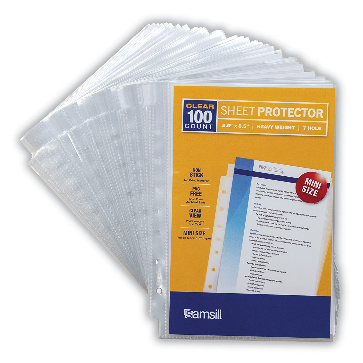 Samsill Heavyweight Clear Mini Binder Sheet Protectors, Top Loading 7 Hole 5.5 x 8.5 inch Page Protectors, Archival Safe, Box of 100 41210