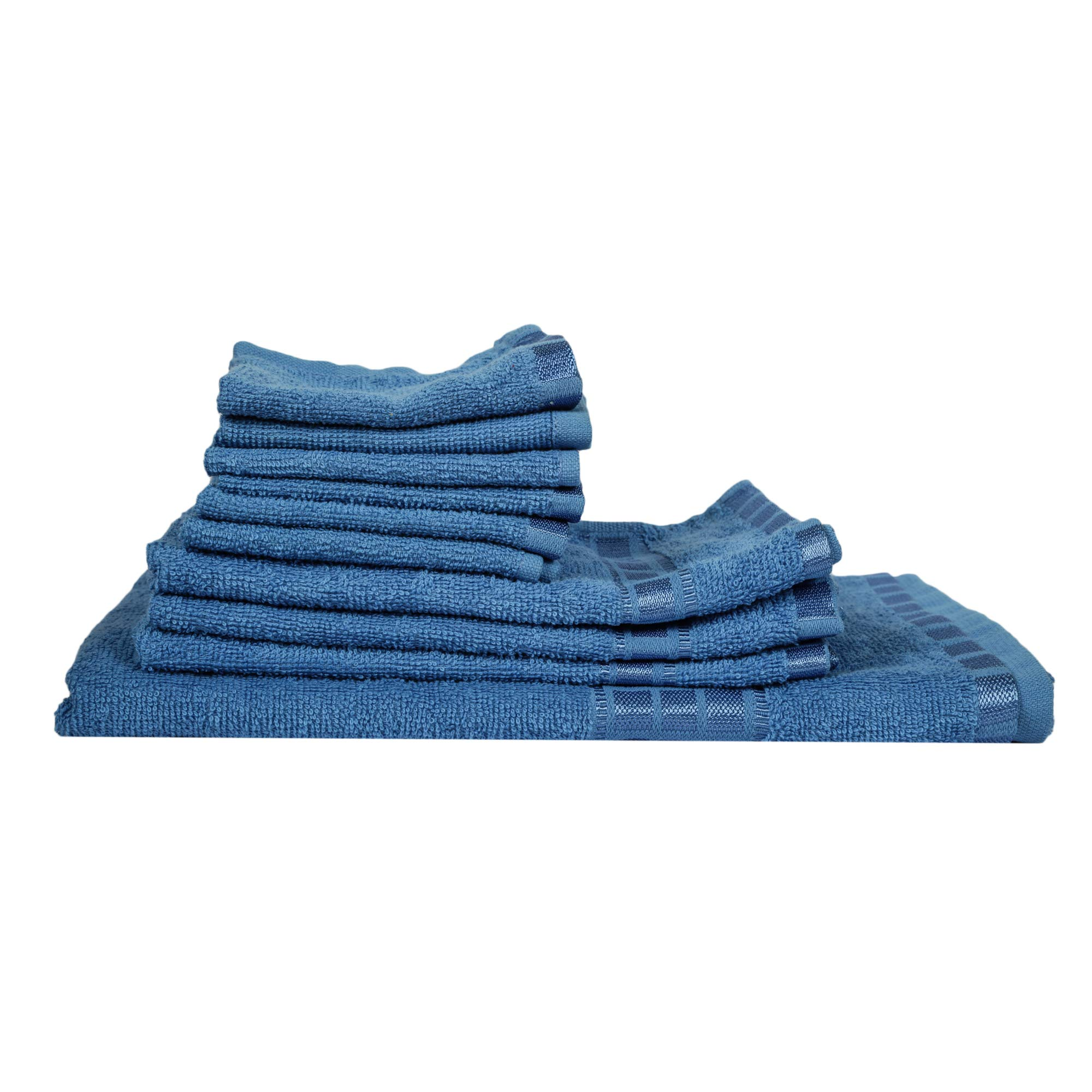 Eurospa Set of 10 Cotton Bath + Hand + Face Towel Set Blue (SPDHFCB171BLM10)