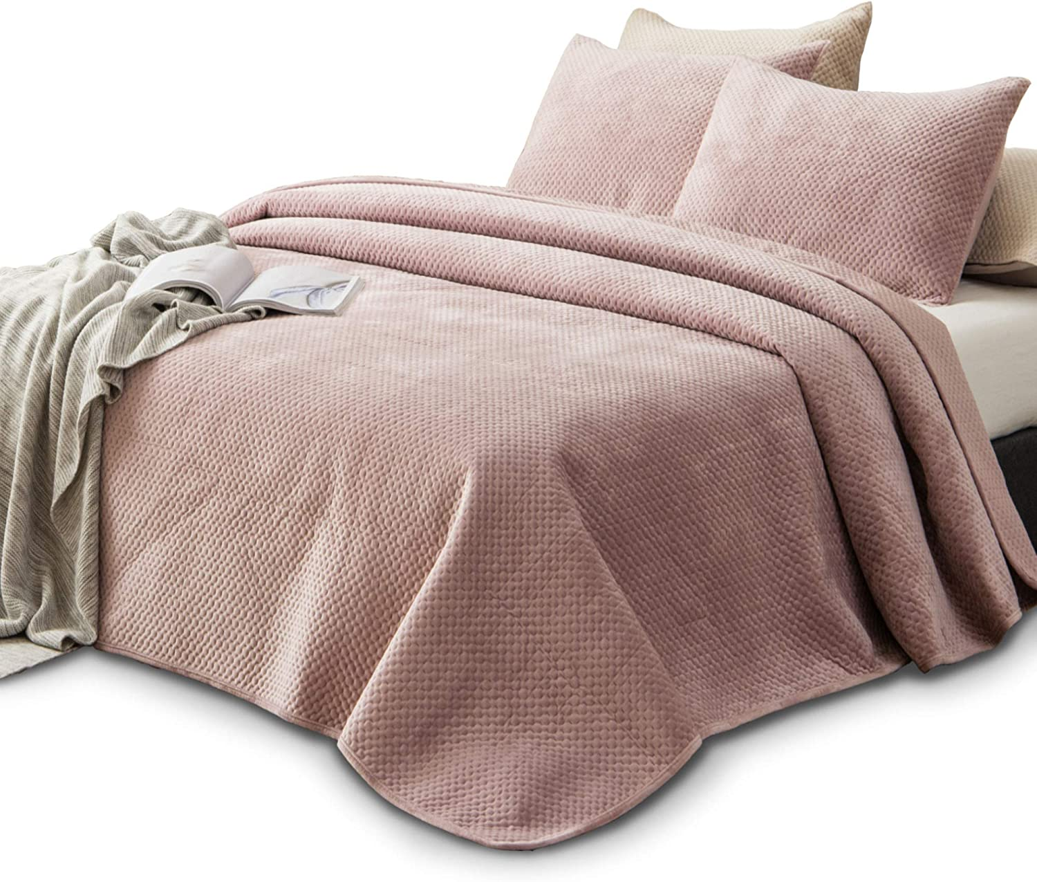 KASENTEX Plush Poly-Velvet Lavish Design Quilt Set with Brushed Microfiber - Luxurious Bedding Soft & Warm Coverlet - Machine Washable Coverlet (Dust Rose Pink, King + 2 Shams)