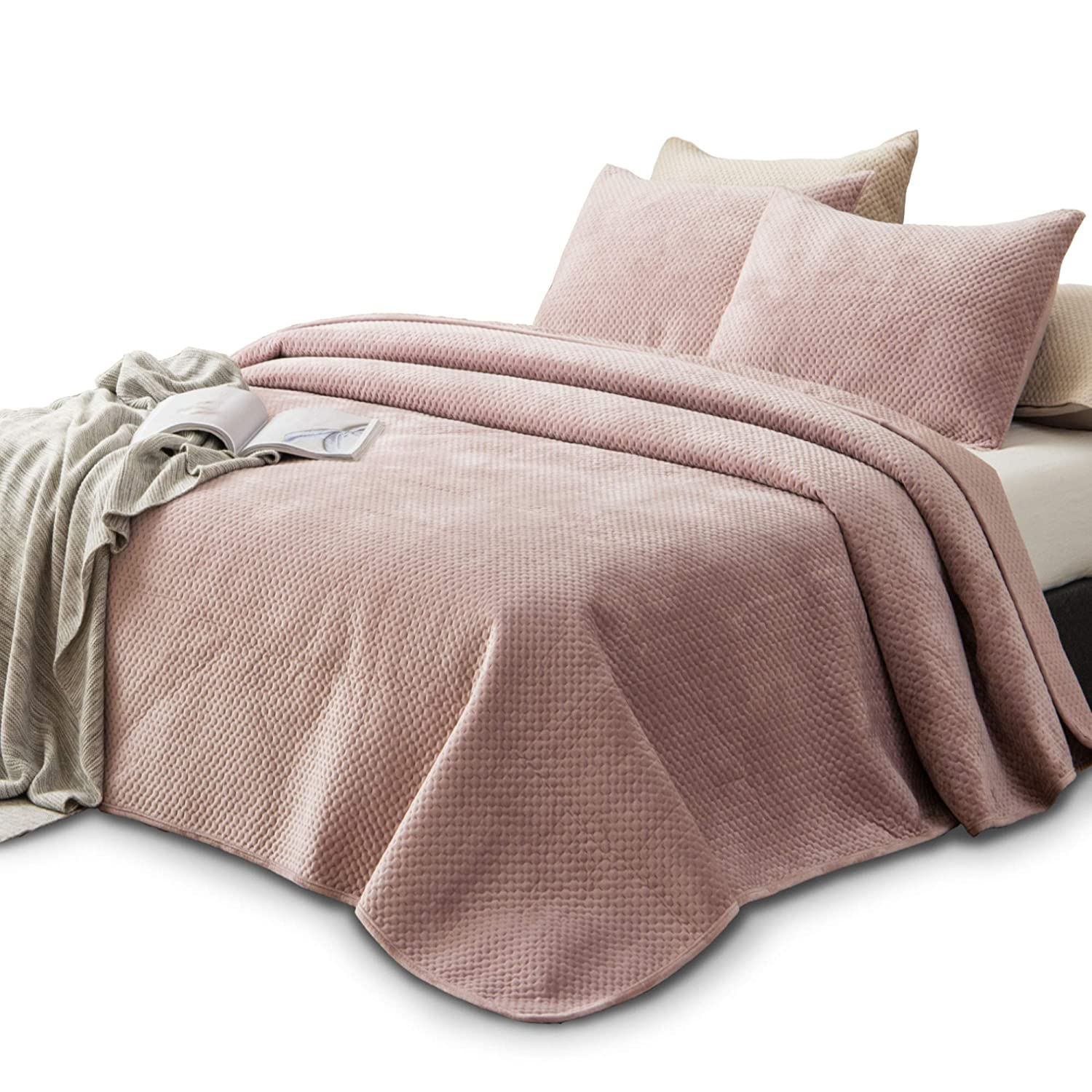 KASENTEX Plush Poly-Velvet Lavish Design Quilt Set with Brushed Microfiber - Luxurious Bedding Soft & Warm Coverlet - Machine Washable Coverlet (Dust Rose Pink, Queen + 2 Shams)