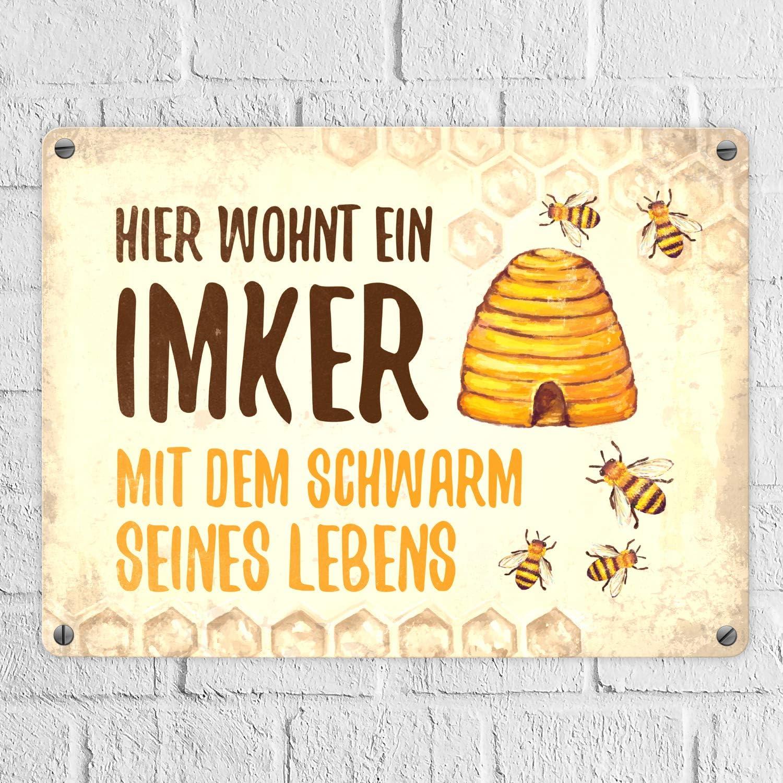 Imker mit seinem Schwarm Bienen Bienenzüchter Türschild aus Holz Geschenkidee