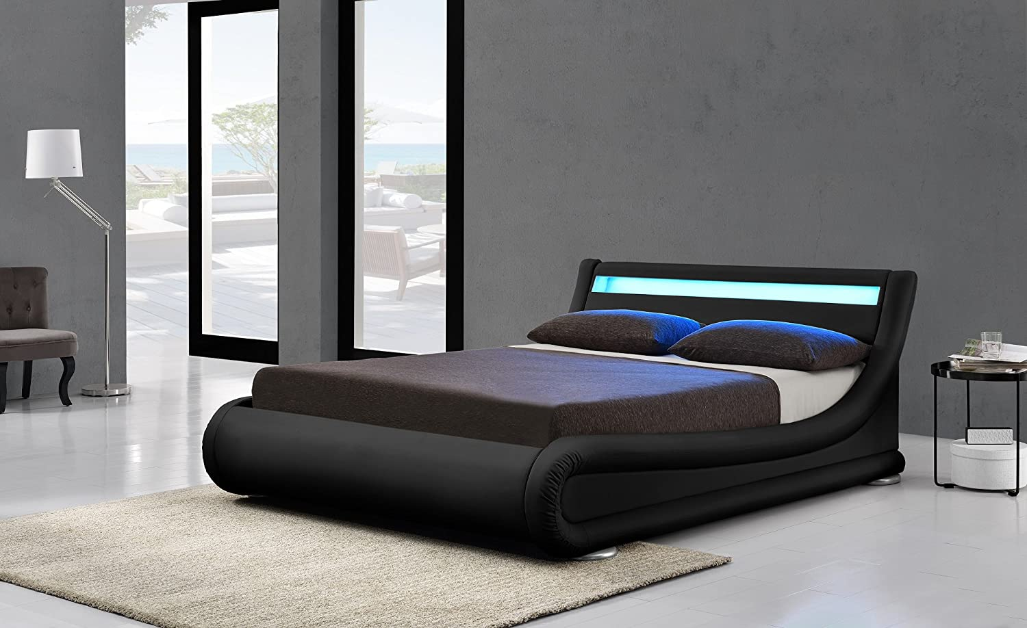 Limitless Home Rio LED Black Designer Curved Ottoman Gas Lift Storage Bed 46 Double 5ft King By 4ft6 Double