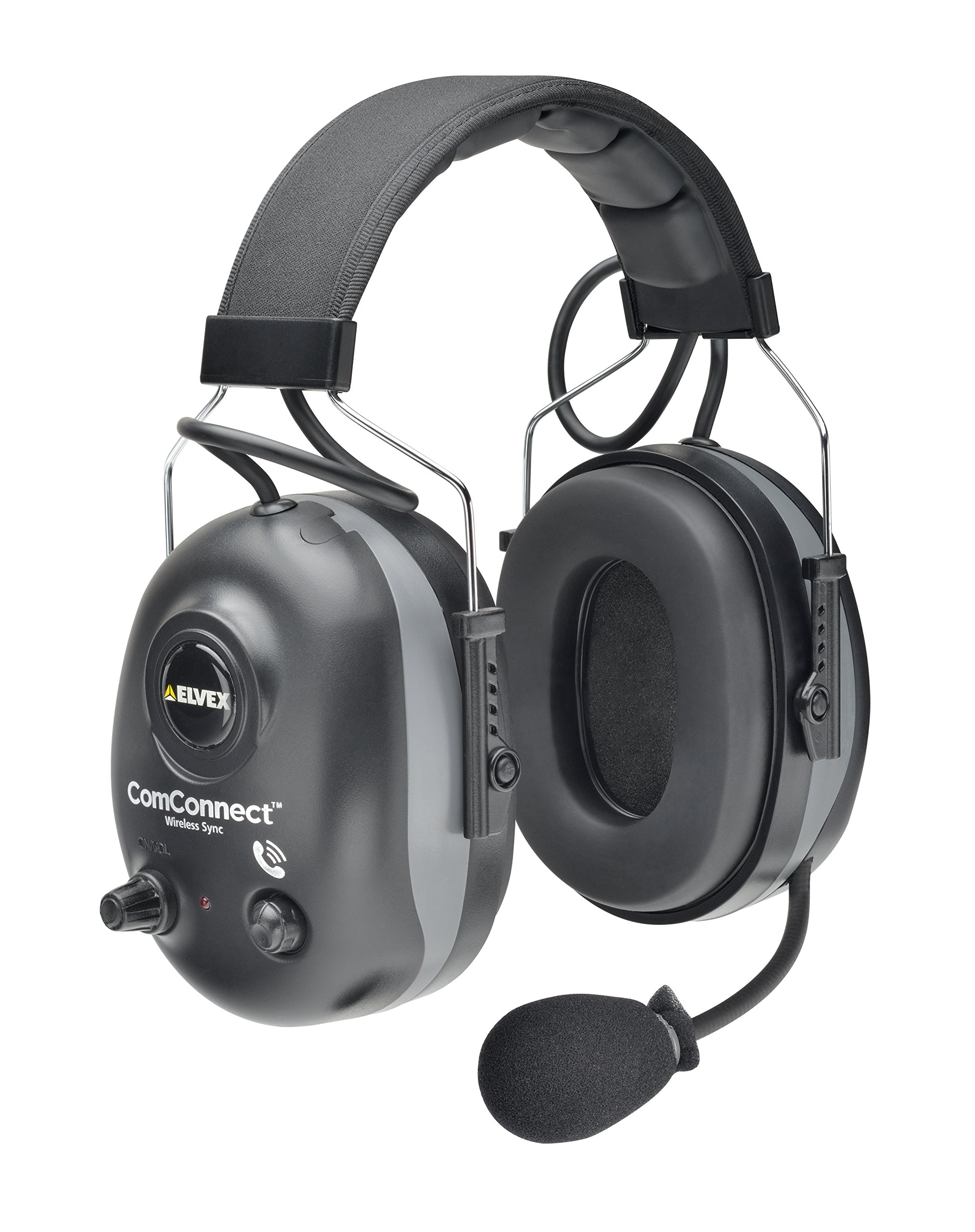 Elvex WELCOM660NRW Comconnect Wireless Synchronization and Communication Electronic Ear Muff, 5'' Height, 9'' Wide, 13'' Length, PVC Headband, ABS Ear Cup and Volume Ring, Steel Fork, One Size