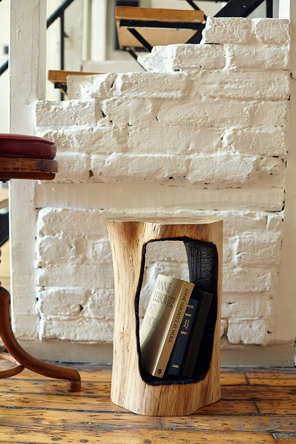 Wooden Book Stand Available In Different Height, Log End Table, Book Holder, Book Shelf