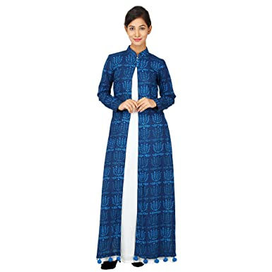 5bdf6f687 Peepal Women's Floral Printed Cotton Floor Length Blue Kurti: Amazon.in:  Clothing & Accessories