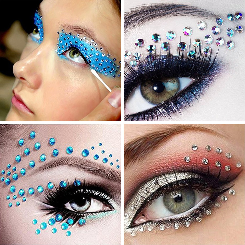 COKOHAPPY 2 Sheets Eye Stones Sticker and 2 Jars Cosmetic Powder Kit Rhinestone Gem Bindi Jewels Self-Adhesive Crystal