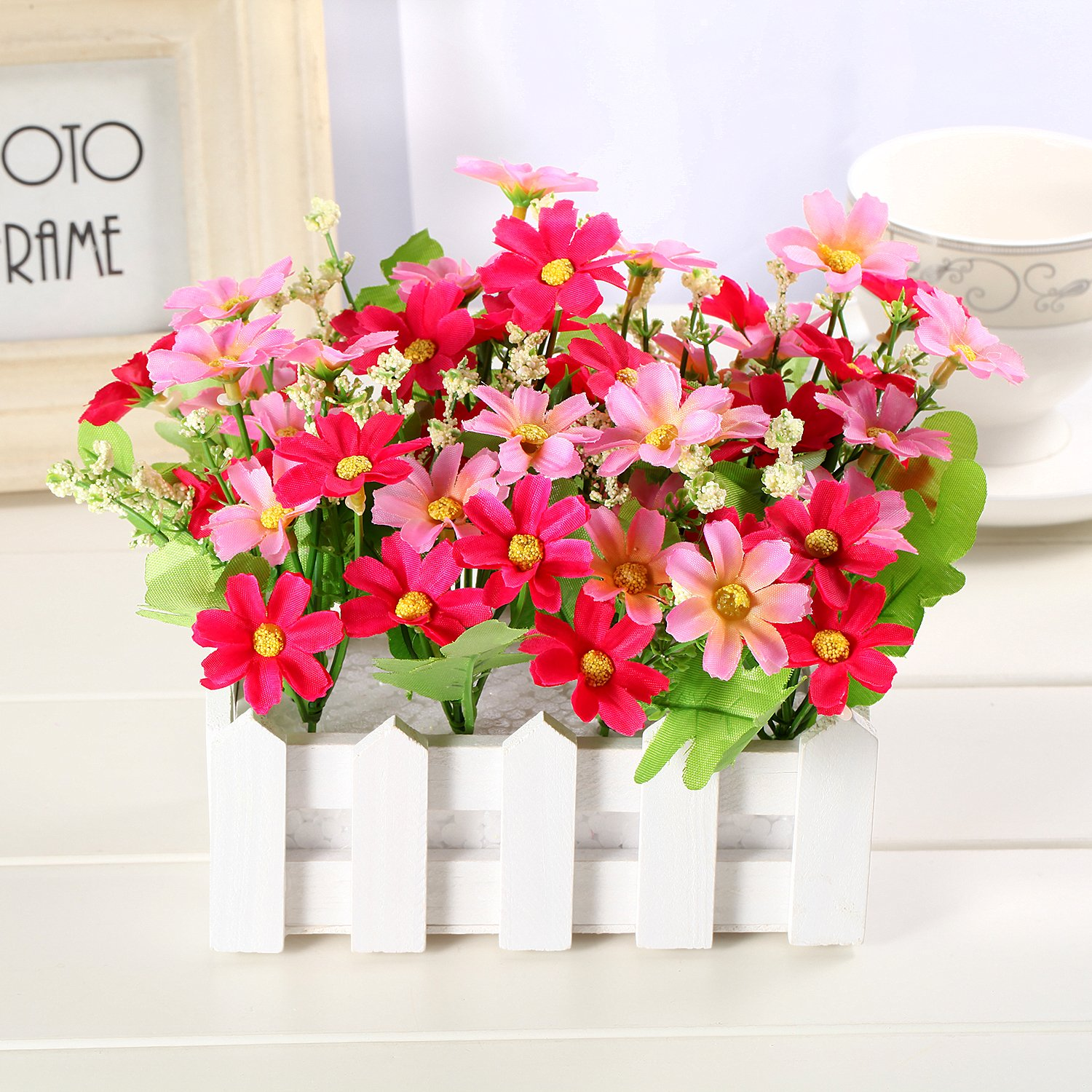 Louis Garden Artificial Flowers Fake Daisy in Picket Fence Pot Pack - Mini Potted Plant (Daisy-Pink) by Louis Garden (Image #2)