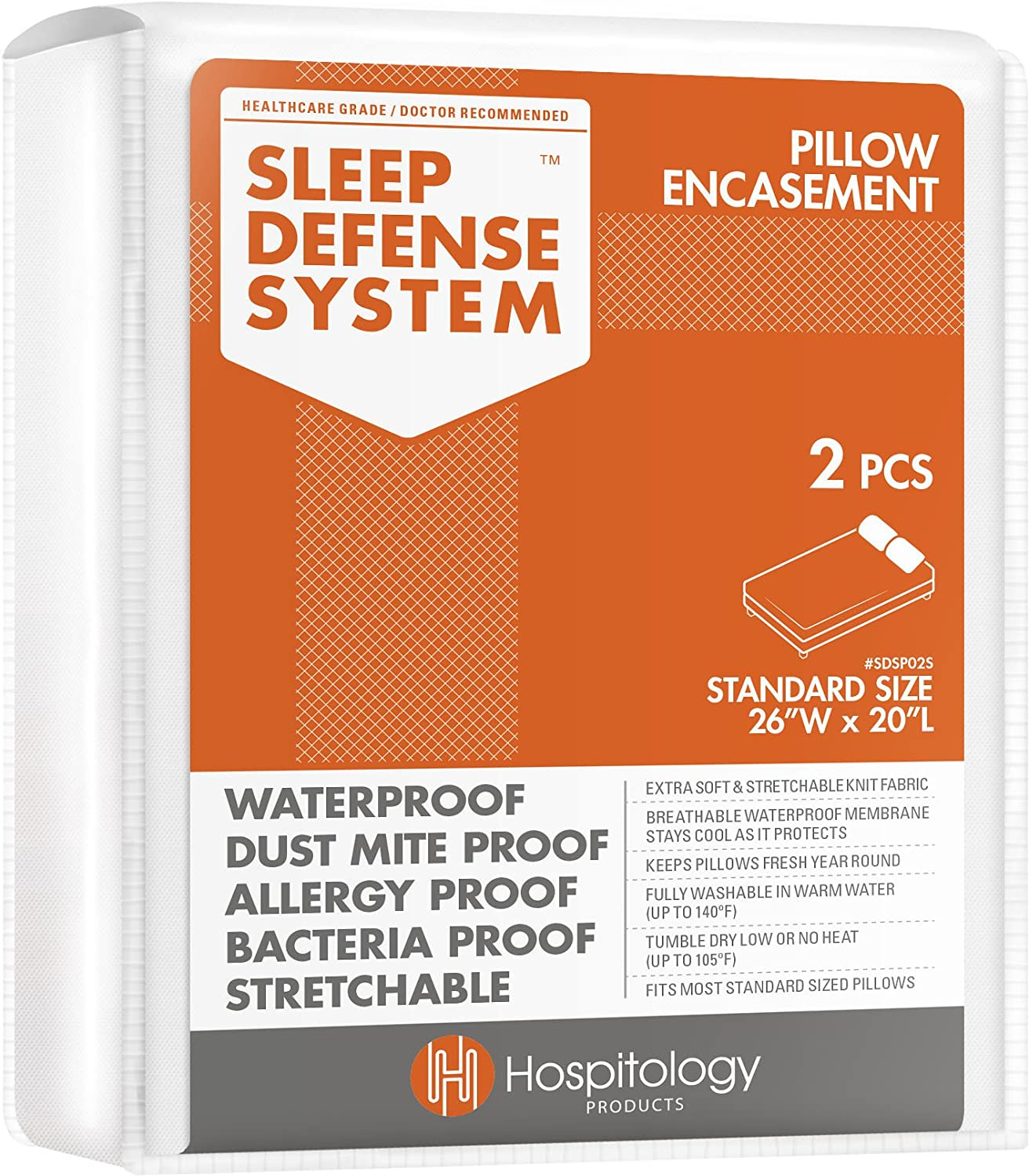 """HOSPITOLOGY PRODUCTS Sleep Defense System - Zippered Pillow Encasement - Standard - Hypoallergenic Protector - Waterproof - Bed Bug & Dust Mite Proof - Set of 2-20"""" H x 26"""" W: Home & Kitchen"""