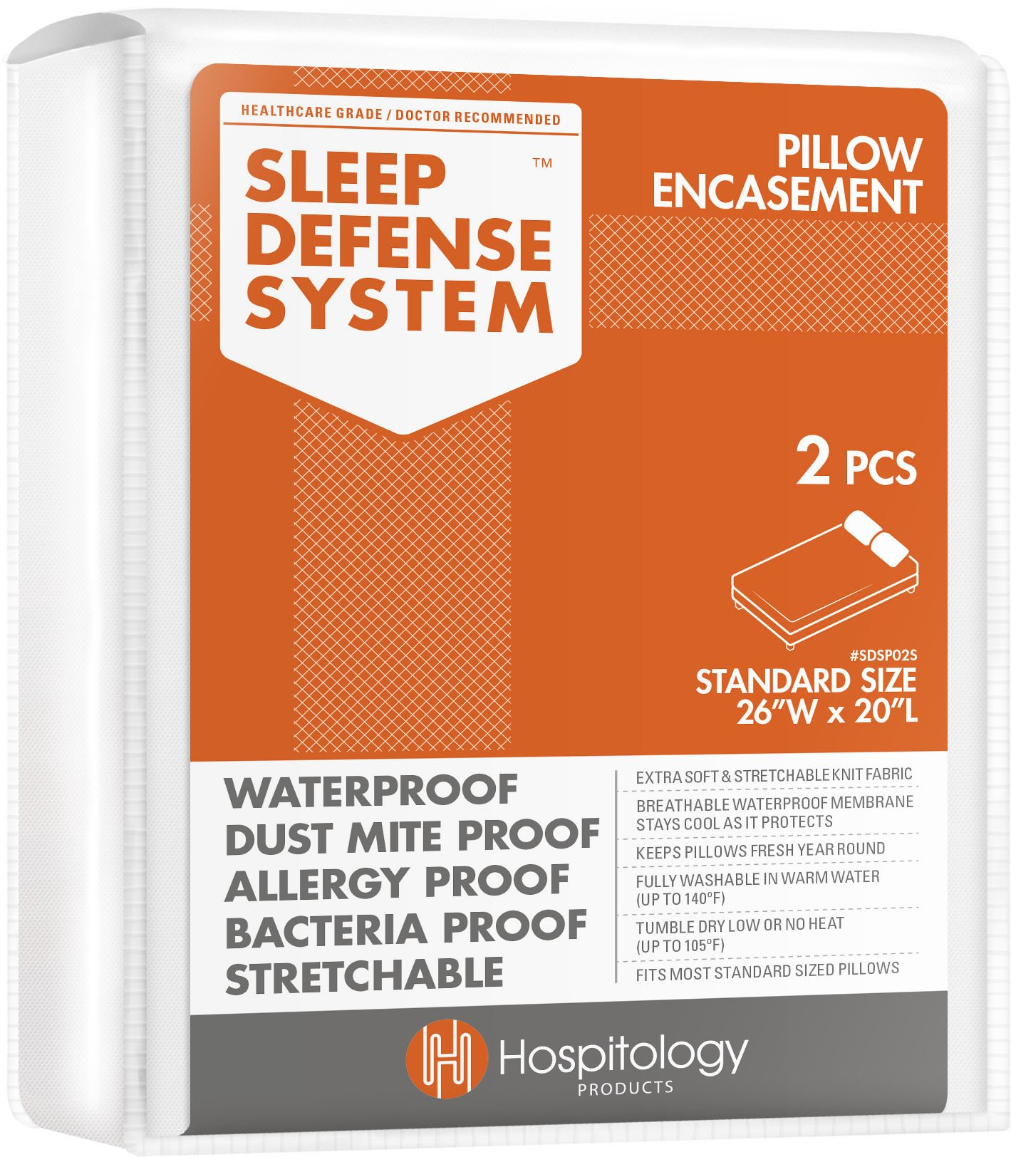 HOSPITOLOGY PRODUCTS Sleep Defense System - Zippered Pillow Encasement - Standard - Hypoallergenic Protector - Waterproof - Bed Bug & Dust Mite Proof - Set of 2-20'' H x 26'' W by HOSPITOLOGY PRODUCTS