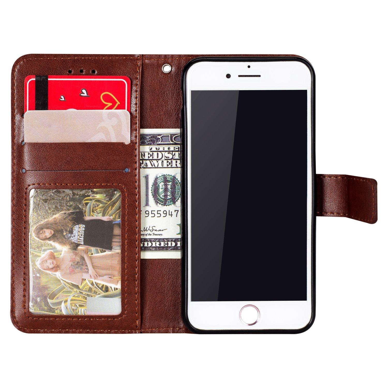 mit Kartenfach Handschlaufe Stand Schutzh/ülle Yobby Leder Brieftasche H/ülle f/ür iPhone 6 iPhone 6S Schwarz Handyh/ülle Gepr/ägt Mandala Muster Schlank Premium PU Flipcase Magnetverschluss