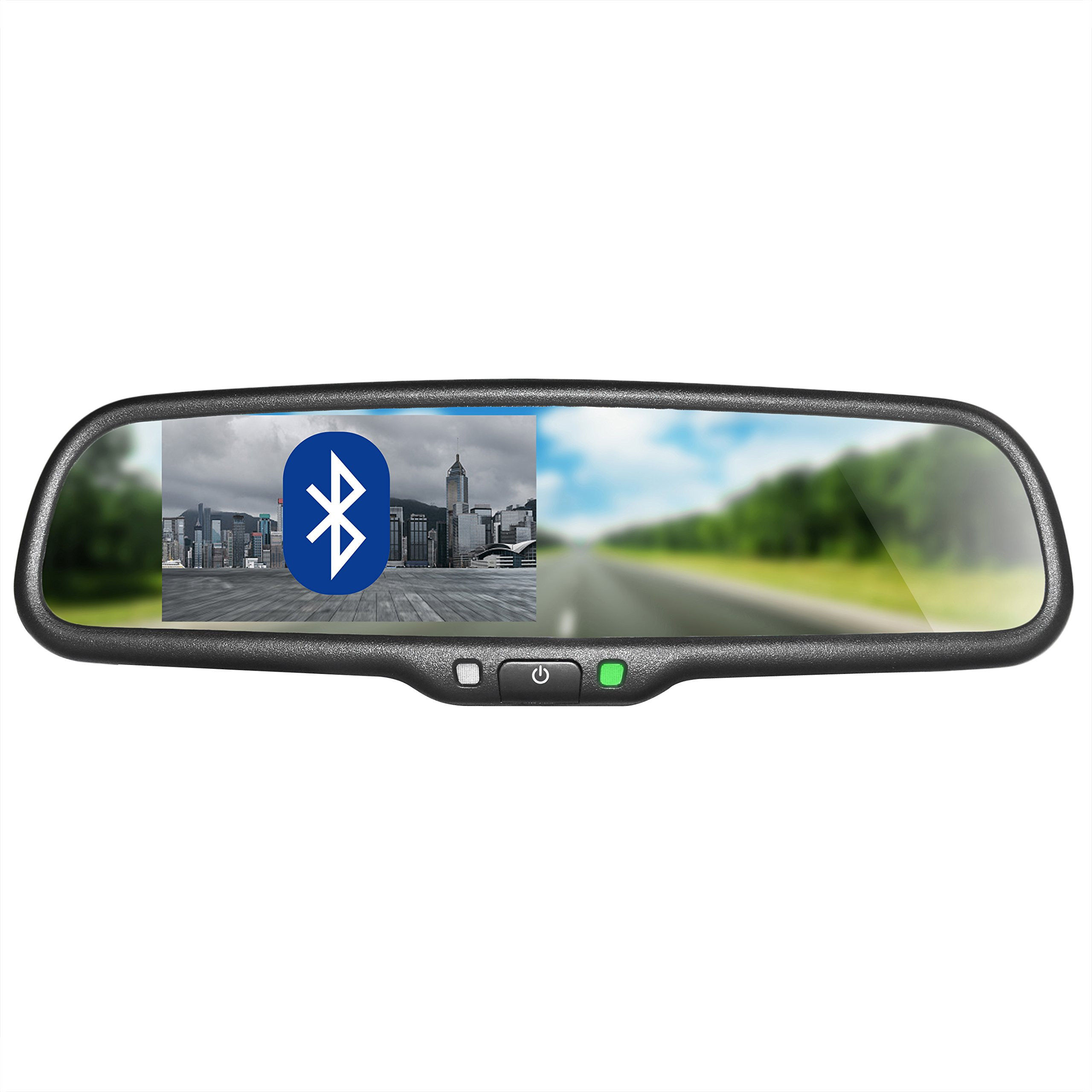 Master Tailgaters OEM BLUETOOTH Rear View Mirror with 4.3'' Auto Adjusting Brightness LCD - Universal Fit, Hands Free Calling w/ built in Speaker & Microphone