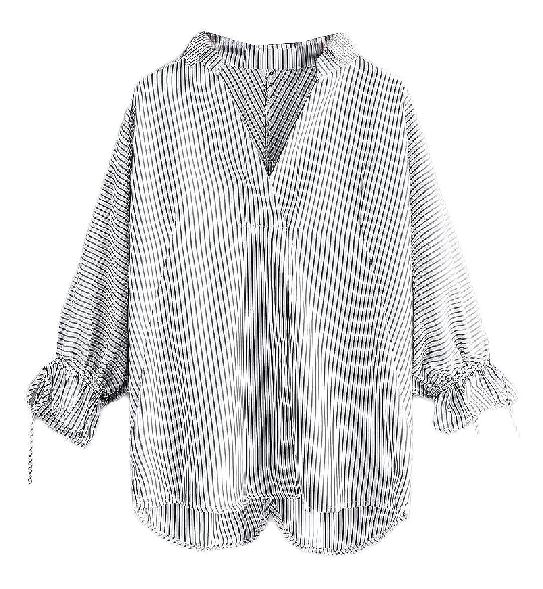 a6d0131af9d320 Fseason-Women V-Neck Pinstripe Stylish Long-Sleeve Drawstring Blouse Shirt  at Amazon Women's Clothing store: