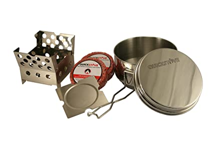Portable Compact Backpack Camp Stove Kit with Cooking Pot - Ideal for Camping Hiking Backpacking and Emergency - Small Burner Stove top Folding Design