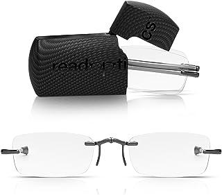 Occhiali Pieghevoli Read Optics +1,50 Diottrie (o da +1 a +3,5). Occhiali da Lettura Vista da Uomo/Donna Portatili, Compatti, Montatura Pieghevole, Aste Lunghe, Lenti Trasparenti, Mini Custodia Rigida