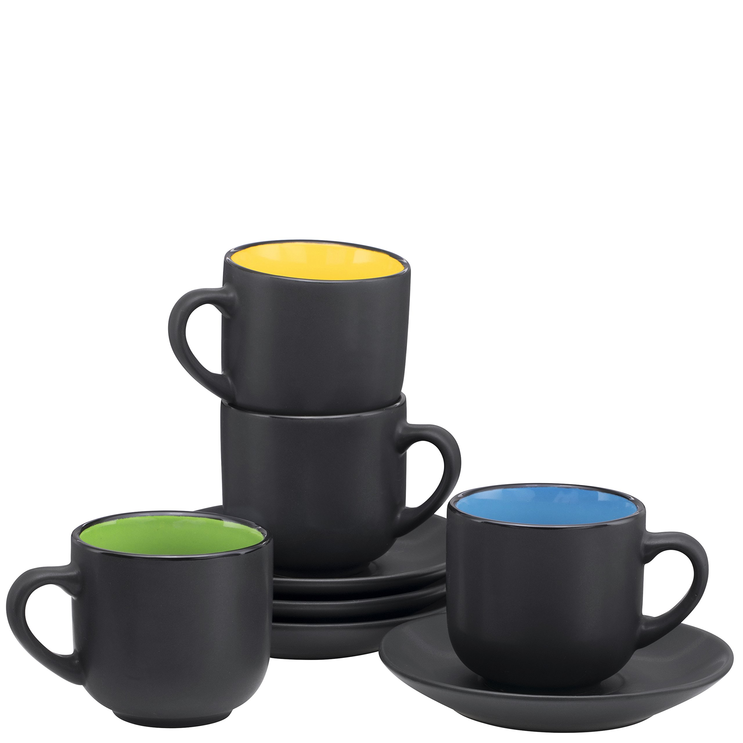 Espresso Cups with Saucers by Bruntmor - 4 ounce - Matte Black Exterior, Solid Color Interior - Set of 4 by Bruntmor (Image #1)
