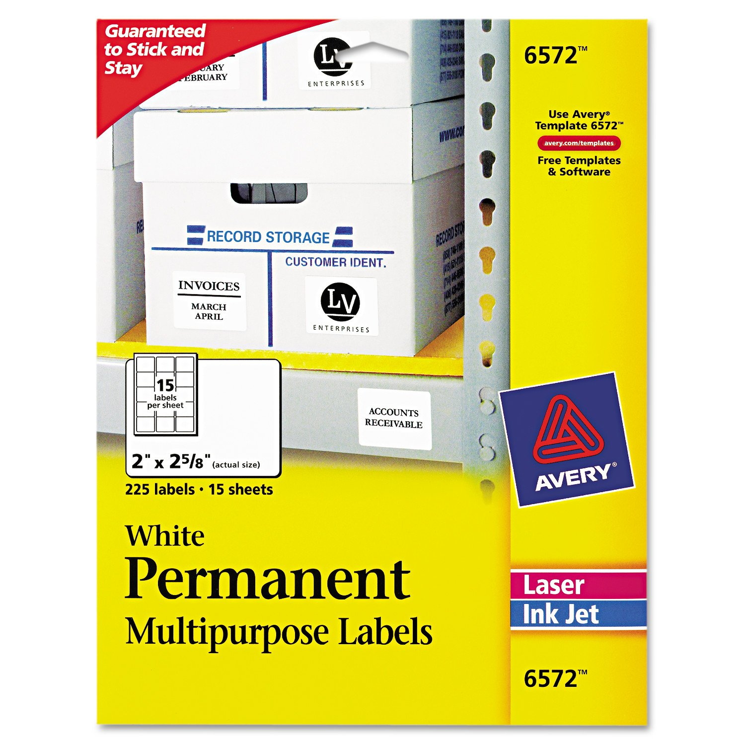 Avery White Permanent ID Labels for Laser and Inkjet Printers, 2 x 2.625 Inch, Pack of 225 (6572)