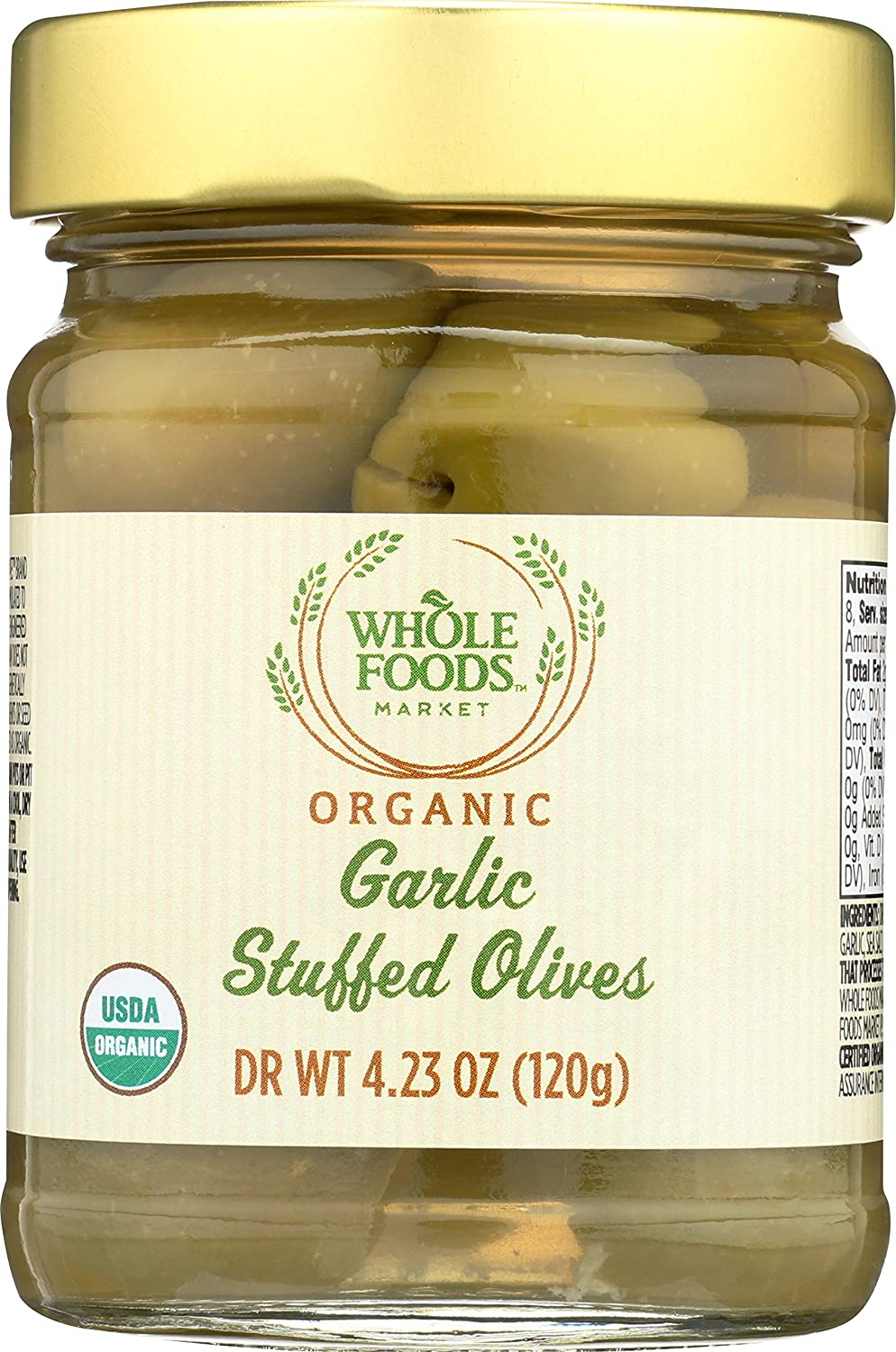 Whole Foods Market, Organic Garlic Stuffed Olives, 4.23 oz