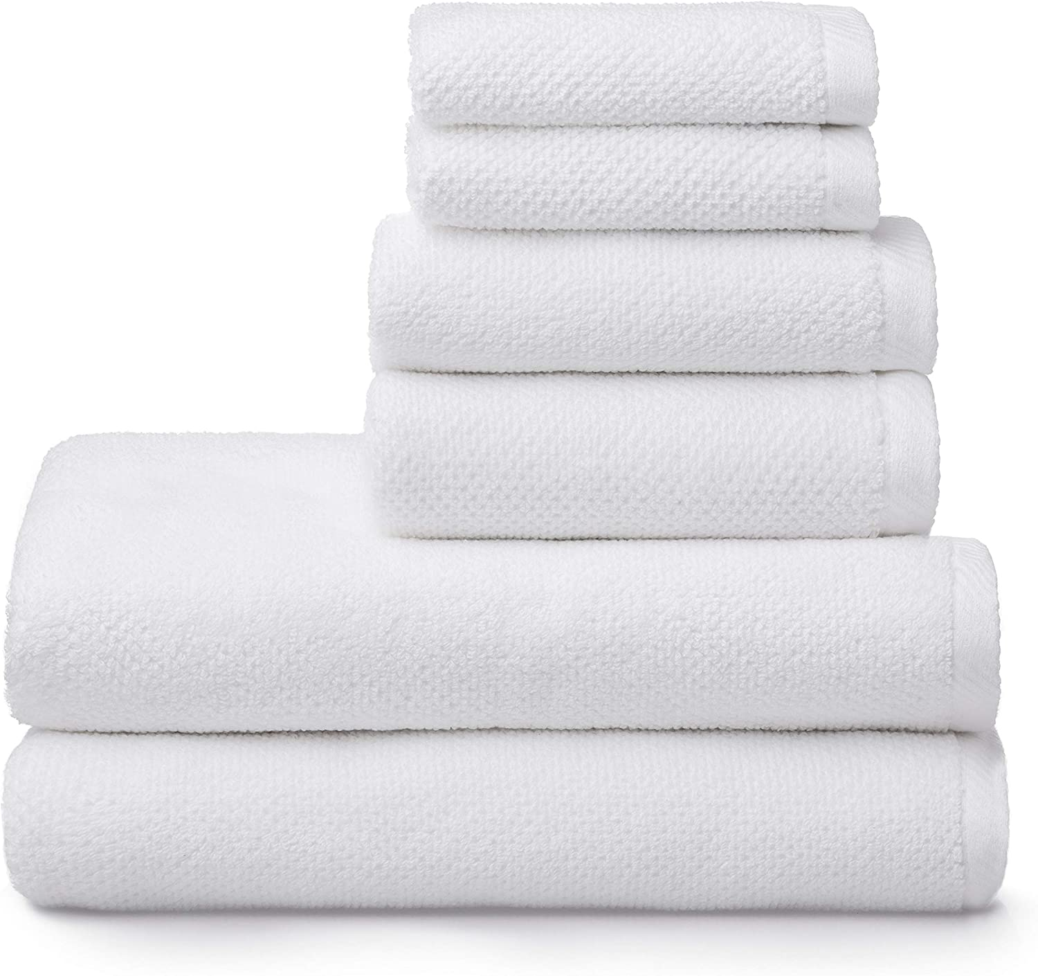 """100/% COTTON MIESTER IVORY WHITE BATH TOWEL SET OF 5 TOWELS 28/"""" X 54/"""" NEW"""