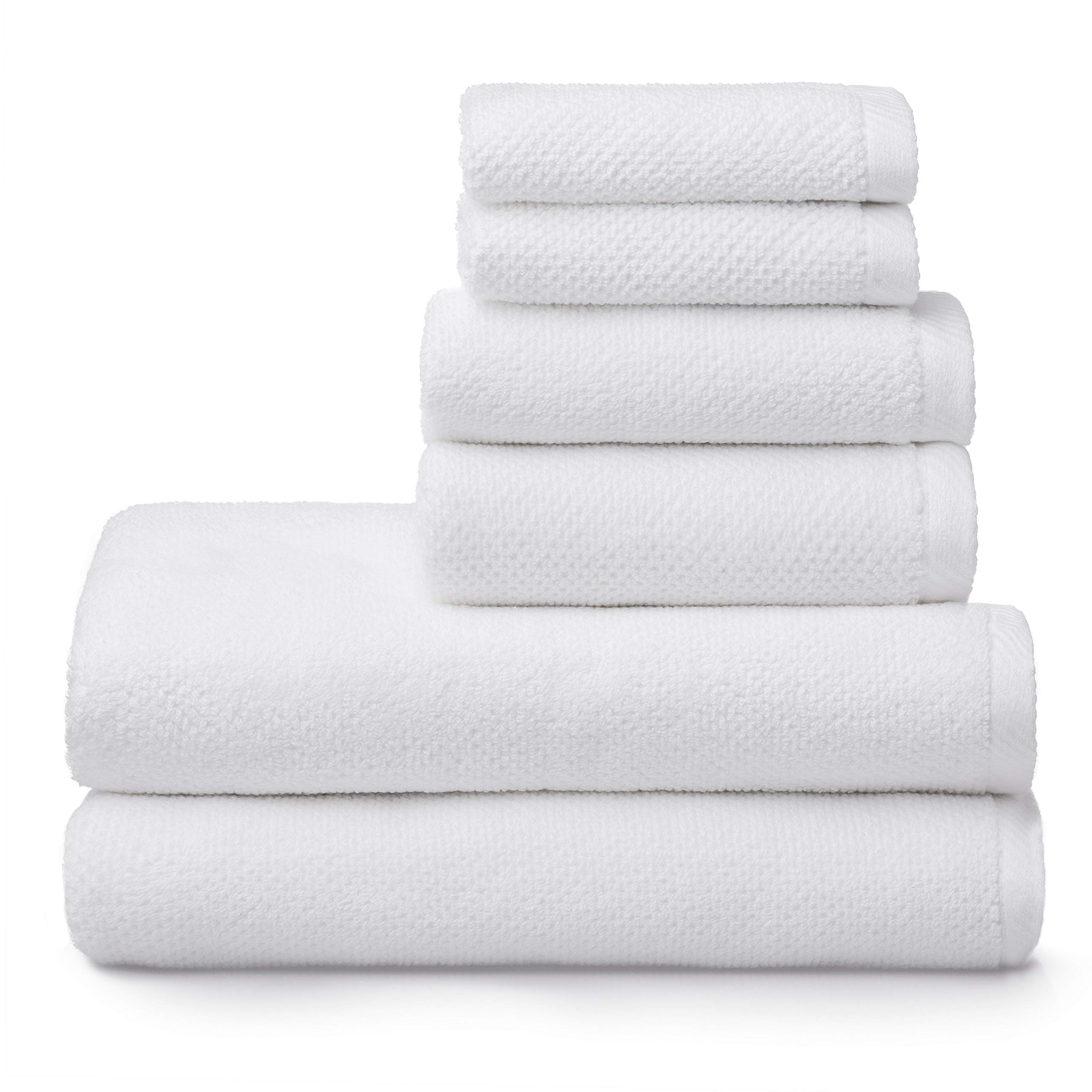 Welhome Franklin 100% Cotton Textured Towel (White) - Set of 6 - Highly Absorbent - Combed Cotton - Durable - Low Lint - 600 GSM - Machine Washable : 2 Bath Towels - 2 Hand Towels - 2 Wash Towels