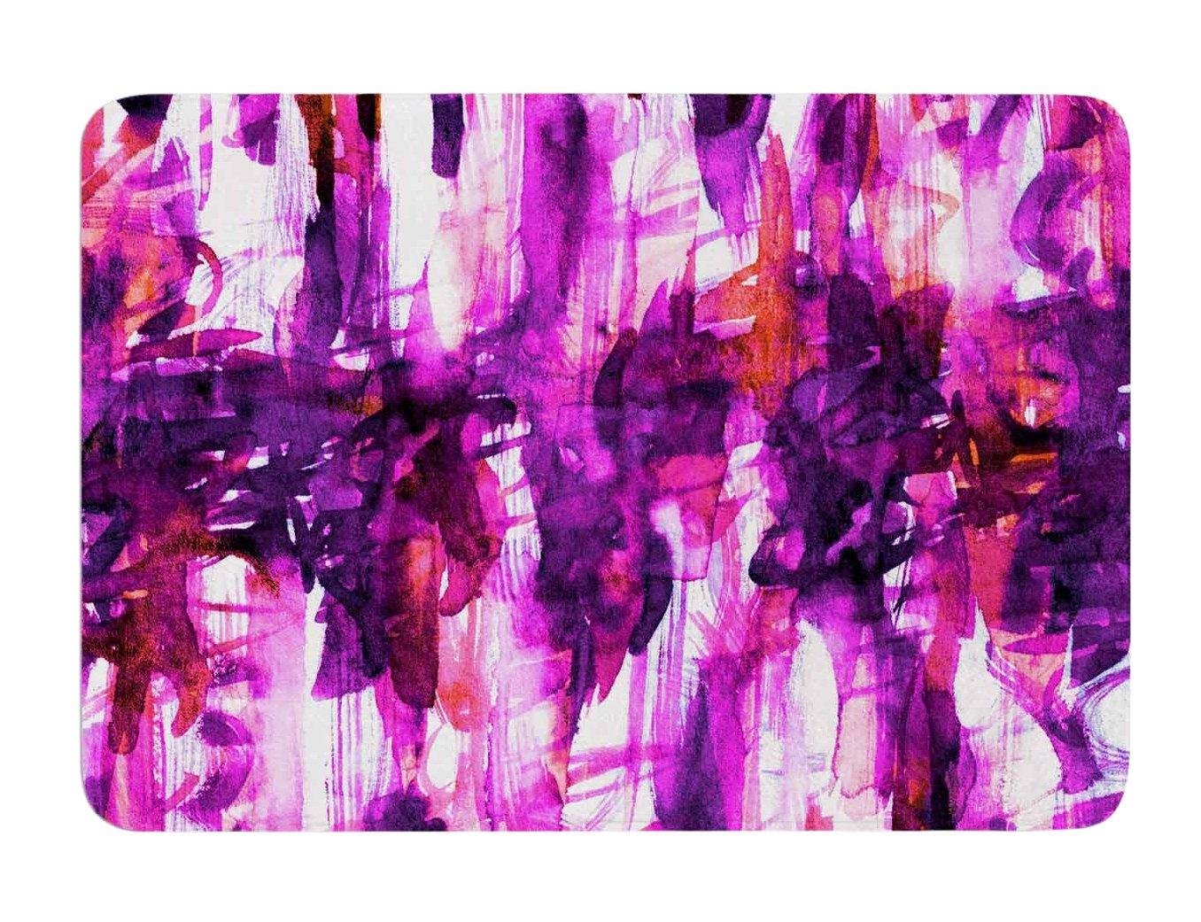 Kess InHouse EBI Emporium White Noise 3' Purple Magenta Memory Foam Bath Mat, 17 by 24-Inch, 17' X 24'