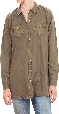 Amichi, Camisa militar - Mujer - Verde - Talla XXL: Amazon.es: Ropa y accesorios