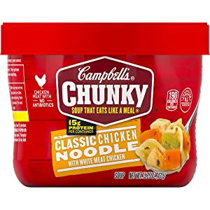 Campbell's Chunky Classic Chicken Noodle Soup Microwavable Bowl, 15.25 oz. (Pack of 8)