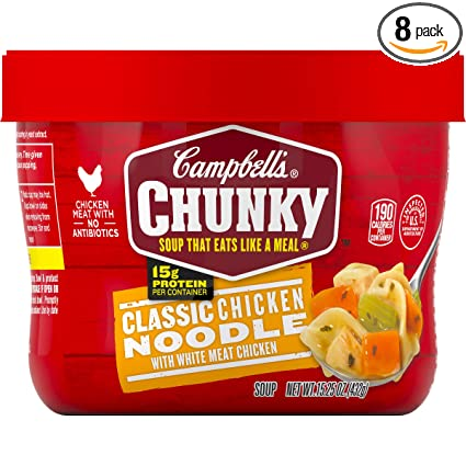Campbells Chunky Classic Chicken Noodle Soup Microwavable Bowl, 15.25 oz. (Pack of 8)