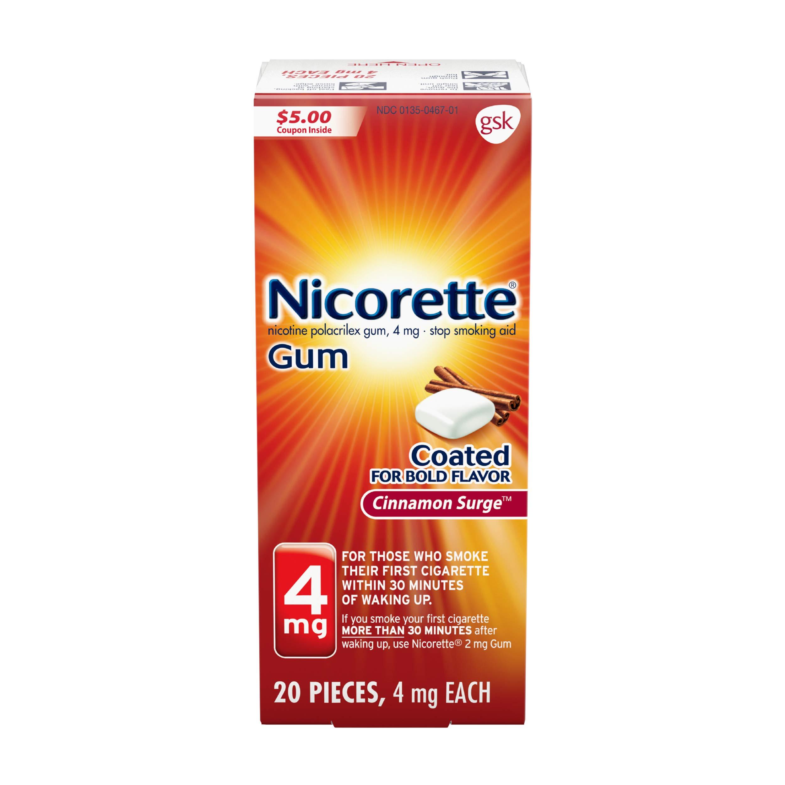 Nicorette Coated Gum, Cinnamon Surge, 4mg, 20-Count