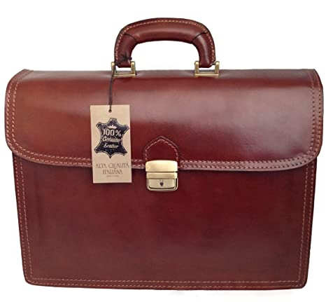 73357688d50684 CTM Borsa Uomo Marrone 24 ore porta documenti, 41x31x18cm, Vera Pelle 100%  Made