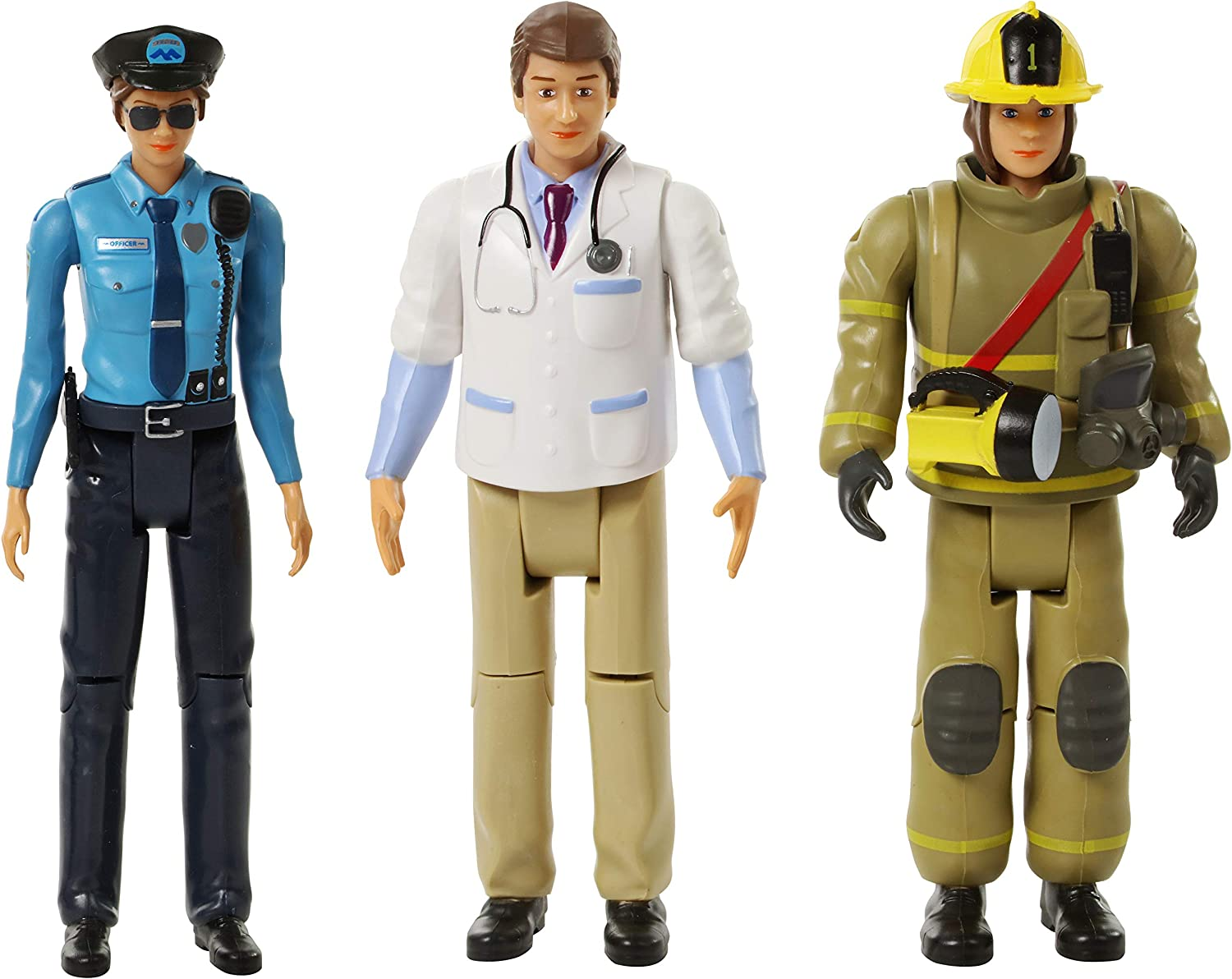 Beverly Hills Doll Collection Sweet Li'l Family Firefighter, Police Officer, Doctor Dollhouse Figures - Emergency Action People Set, Pretend Play for Kids and Toddlers