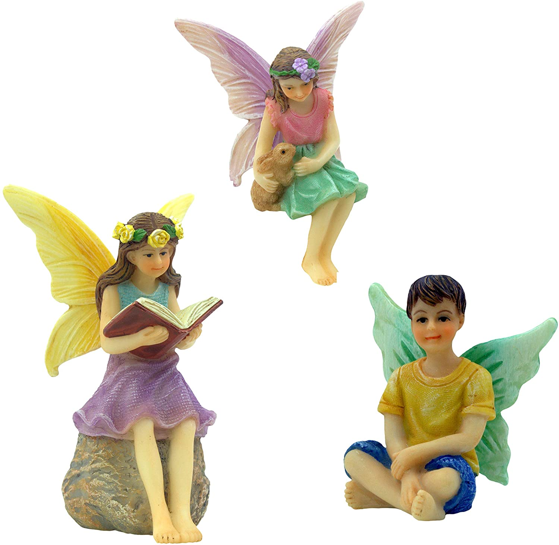 PRETMANNS Fairy Garden Fairies – 3 Miniature Fairy Figurines – A Book Reading Fairy, Fairy Holding a Bunny and a Boy Fairy - Forest Fairies Fairy Garden Supplies 3 Pieces