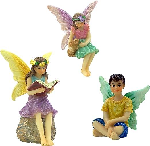 Hadas de jardín de hadas PRETMANNS, 3 miniaturas de hadas, un libro de lectura, hada sosteniendo un conejo y un hada, hadas del bosque, suministros de jardín de hadas, 3 piezas: Amazon.es: