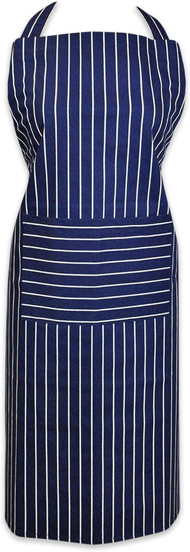 DII 100% Cotton, Professional Stripe Bib Chef Apron, Unisex Restaurant Kitchen Apron, Adjustable Neck Strap & Waist Ties, Machine Washable, Front Pocket, Perfect for Cooking, Baking, BBQ - Blue