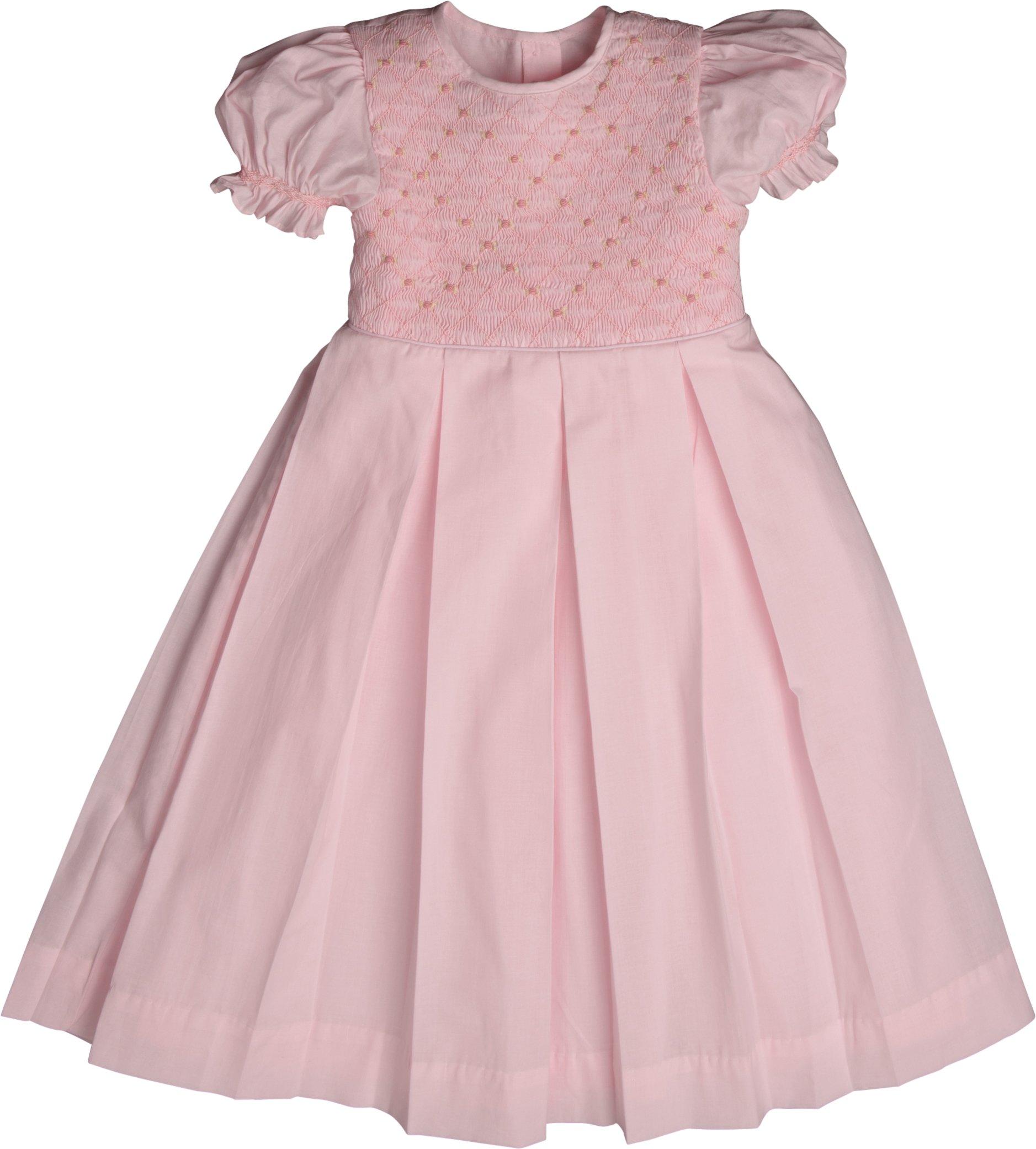 Strasburg Children Little Girls Addison Smocked Dress Pink (3)