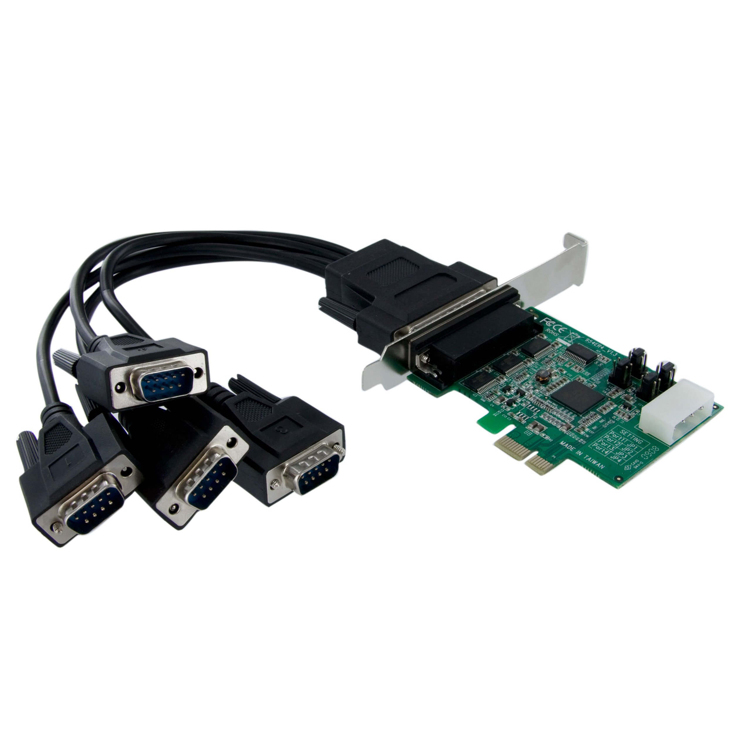 4 Port Native PCI Express RS232 Serial Adapter Card with 169