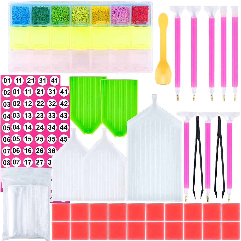 89 Pieces DIY Diamond Painting Set Including Diamond Quick Point Pen, Plastic Tray, Plastic Tweezer Label Stickers and Diamond Embroidery Box Augshy 4336946404