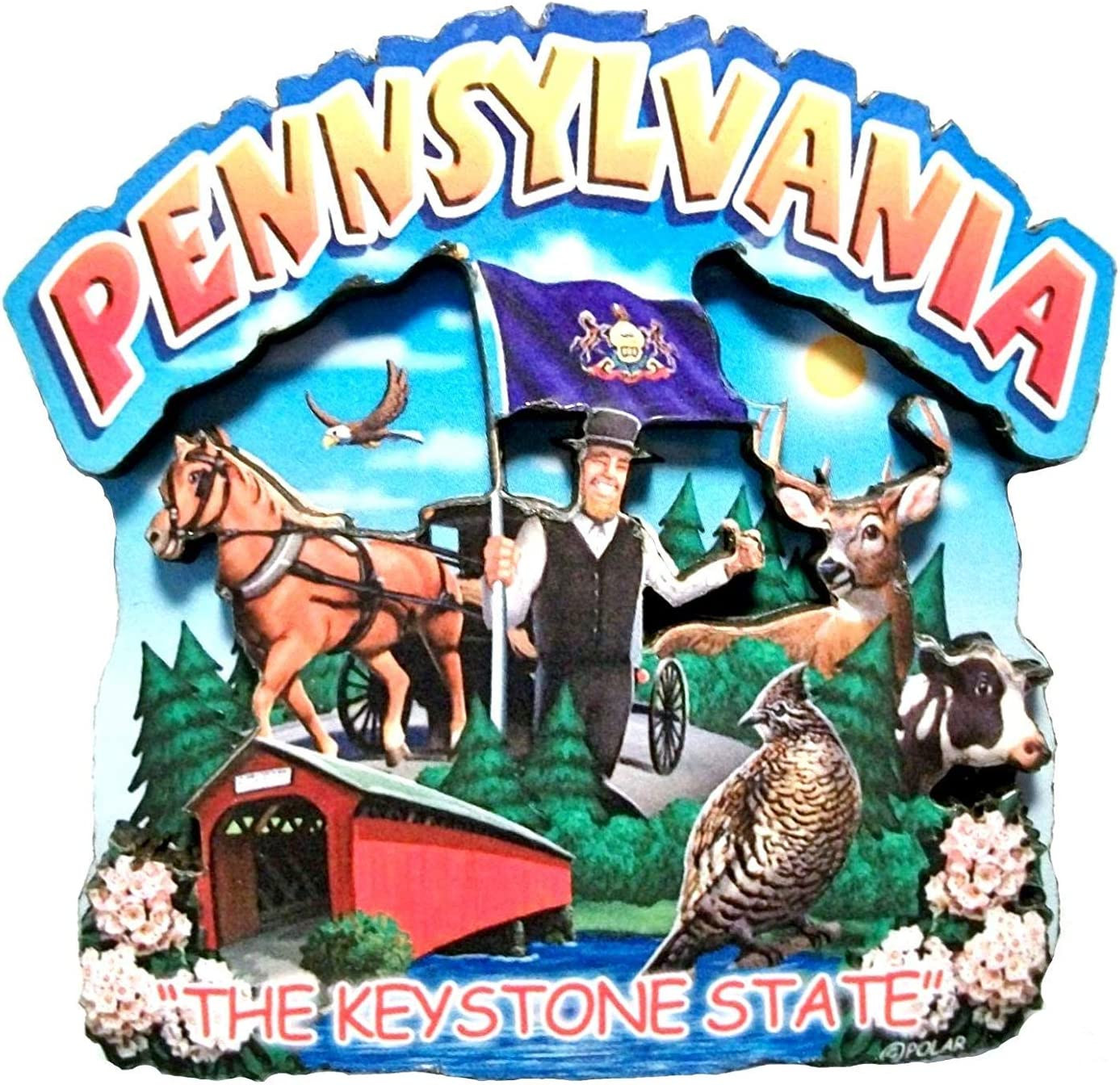 Pennsylvania State Montage Wood Fridge Magnet 2