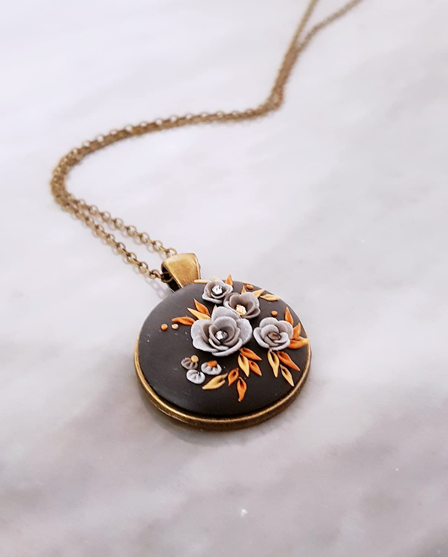 Antique and semi-precious stone polymer clay pendant