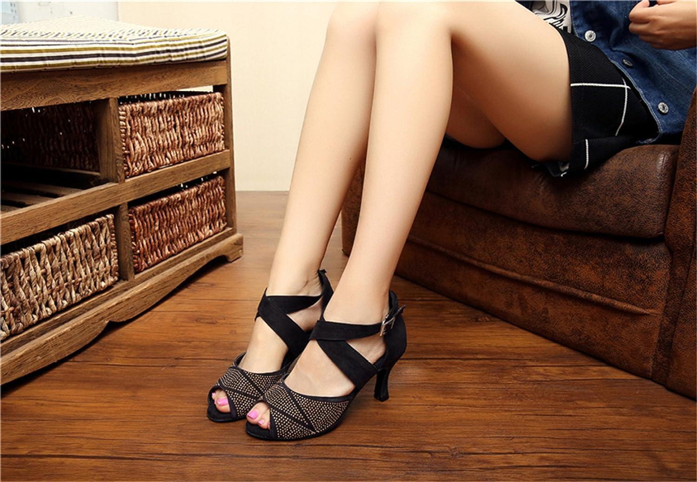 JSHOE Damen Latin Dance Schuhe / Salsa / Tango / Schuhe Tee / Samba / Modern / Jazz Schuhe Sandalen High Heels,schwarz-heeled7.5cm-UK6/EU39/Our40 - ad3c8e