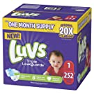 Diapers Newborn / Size 1 (8-14 lb), 252 Count - Luvs Ultra Leakguards Disposable Baby Diapers, ONE MONTH SUPPLY (Packaging May Vary)