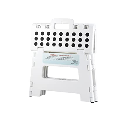 "StepSafe Non Slip Folding Step Stool For Kids and Adults with Handle- 9"" in Height, Holds up to 300 Lb! (white): Kitchen & Dining"