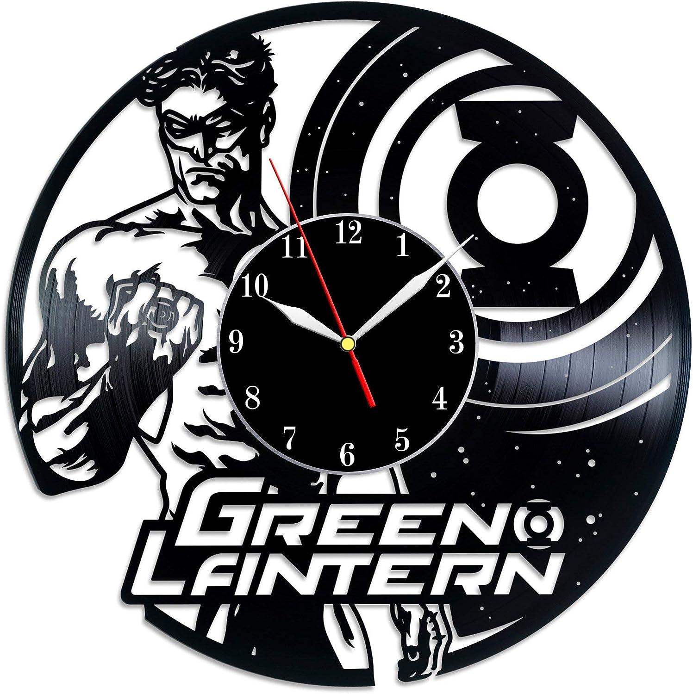 BombStudio Green Lantern Vinyl Record Wall Clock, Green Lantern Handmade for Kitchen, Office, Bedroom. Green Lantern Ideal Wall Poster