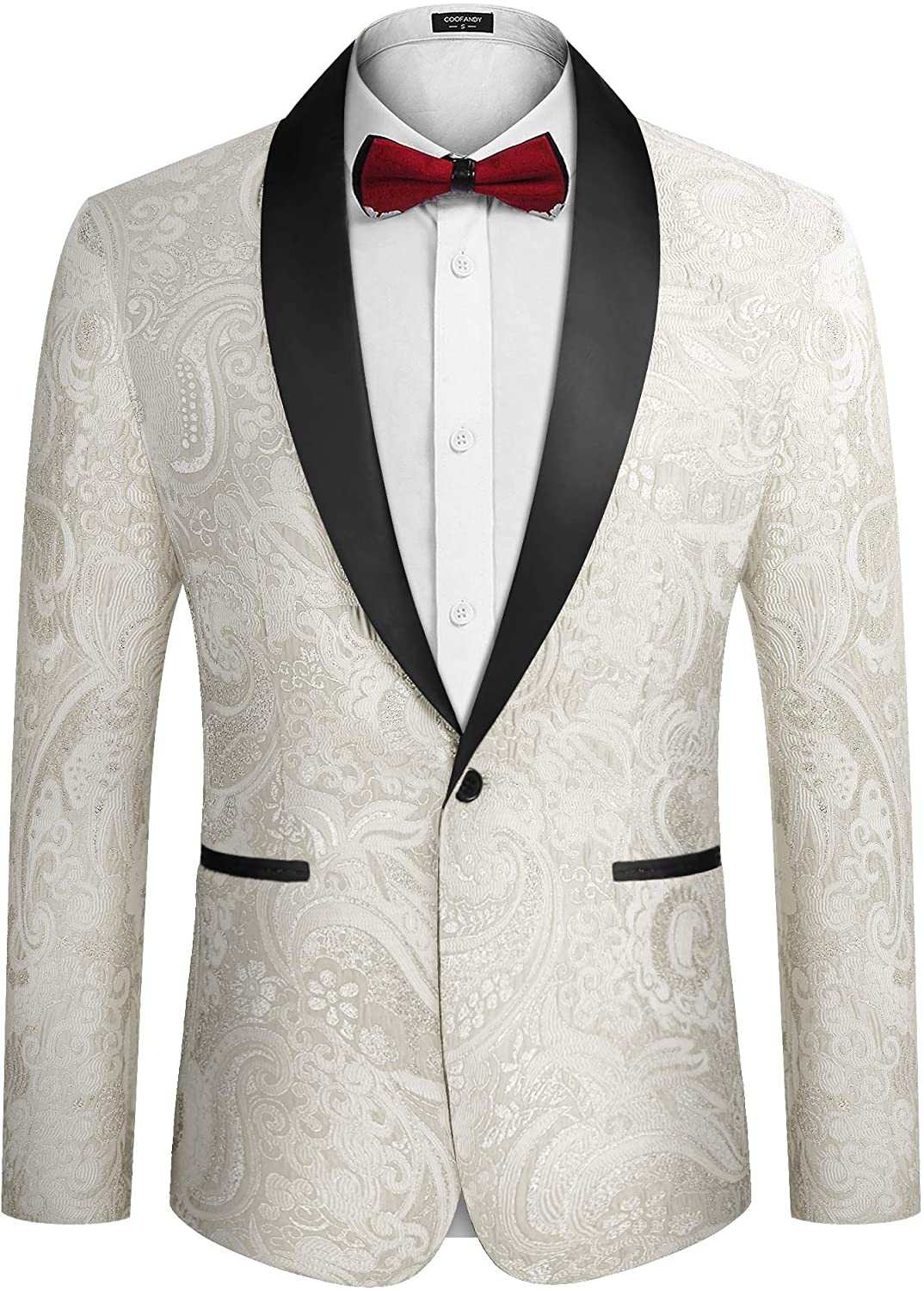 COOFANDY Men's Floral Dress Suit Luxury Embroidered Wedding Blazer Dinner Tuxedo Jacket for Party